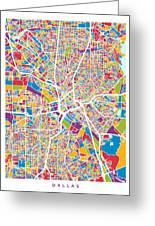 Dallas Texas City Map Greeting Card