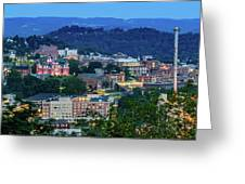 Downtown Morgantown And West Virginia University Greeting Card