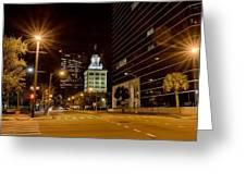 Downtown Tampa Florida Skyline At Night Greeting Card