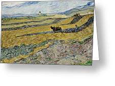 Enclosed Field With Ploughman Greeting Card