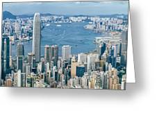Hong Kong Harbour View From The Peak Greeting Card
