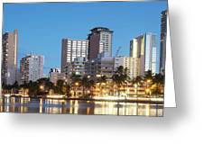 Honolulu Skyline Panorama Greeting Card