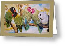Flygende Lammet     Productions          5 Lovebirds Sitting On A Twig Greeting Card