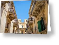Noto, Sicily, Italy - Detail Of Baroque Balcony, 1750 Greeting Card