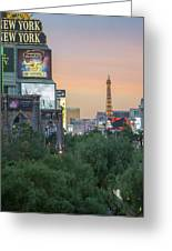 november 2017 Las Vegas, Nevada - evening shot of eiffel tower a Greeting Card