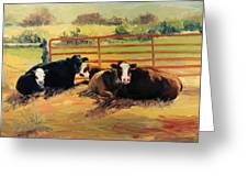 5 O Clock Cows Greeting Card