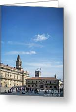 old town Obradoiro Square near santiago de compostela cathedral  Greeting Card