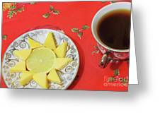 On The Eve Of Christmas. Tea Drinking With Cheese. Greeting Card