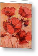 Poppy Flowers Handmade Oil Painting On Canvas Greeting Card