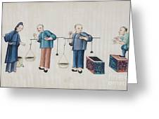 Portraying The Chinese Tea Traders Greeting Card