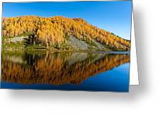 Reflections On Water, Autumn Panorama From Mountain Lake Greeting Card