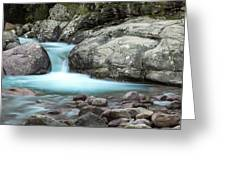 Slow Shutter Photo Of Figarella River At Bonifatu In Corsica Greeting Card