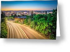 Spokane Washington City Skyline And Streets Greeting Card