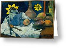 Still Life With Teapot And Fruit Greeting Card