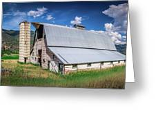 Summer Sunset With A Red Barn In Rural Montana And Rocky Mountai Greeting Card