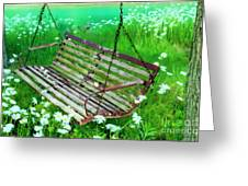 Swing In The Daisies Greeting Card