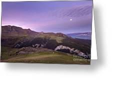 Swiss Alps In The Night Greeting Card