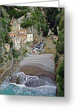 This Is A View Of Furore A Small Village Located On The Amalfi Coast In Italy  Greeting Card