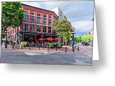 Outdoor Cafe In Gastown, Vancouver, British Columbia, Canada Greeting Card