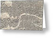 Vintage Map Of London England  Greeting Card