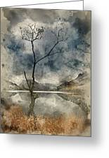 Watercolour Painting Of Beautiful Autumn Fall Landscape Image Of Greeting Card
