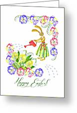 Welcome Spring. Rabbit And Flowers Greeting Card