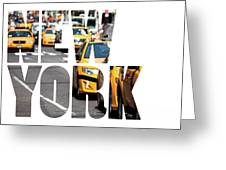 Yellow Cab Speeds Through Times Square In New York, Ny, Usa.  Greeting Card