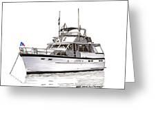 50 Foot Hatteras Motoryacht Greeting Card