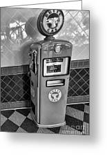 50's Gas Pump Bw Greeting Card