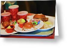50's Style Food Malt Hamburger Tray  Greeting Card
