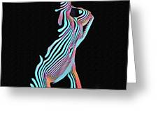 5291s-mak Nude Female Torso Rendered In Composition Style Greeting Card