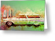 57 Chevy Nomad Wagon Blowing Beach Sand Greeting Card
