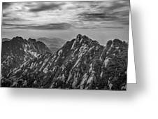 58462 Yellow Mountains Black And White Greeting Card