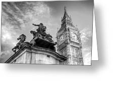 Big Ben And Boadicea Statue  Greeting Card