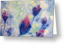 6 Blue Flowers In Breeze Greeting Card