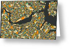 Boston Map Greeting Card by Jazzberry Blue