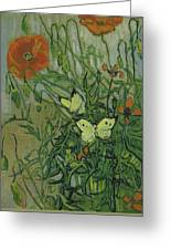 Butterflies And Poppies Greeting Card