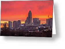 Charlotte The Queen City Skyline At Sunrise Greeting Card