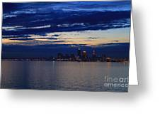 Cleveland City Skyline At Dusk Greeting Card