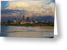 Cleveland Skyline From A Distant Park Greeting Card