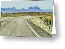 descending into Monument Valley at Utah  Arizona border  Greeting Card
