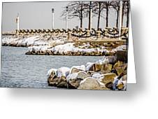 Frozen Winter Scenes On Great Lakes  Greeting Card