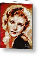 Ginger Rogers Hollywood Actress And Dancer Greeting Card