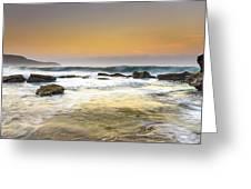 Hazy Dawn Seascape With Rocks Greeting Card