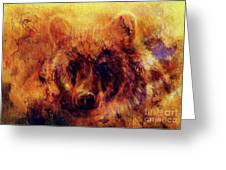 head of mighty brown bear, oil painting on canvas and graphic collage. Eye contact. Greeting Card