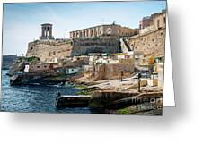 La Valletta Old Town Fortifications Architecture Scenic View In  Greeting Card