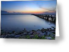 Melbourne Beach Pier Sunset Greeting Card