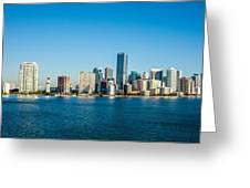 Miami Florida City Skyline Morning With Blue Sky Greeting Card