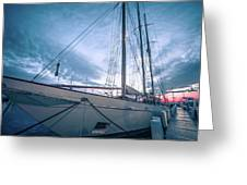 Newport Rhode Island Harbor With Tall Ships At Sunset Greeting Card