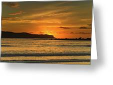 Orange Sunrise Seascape Greeting Card